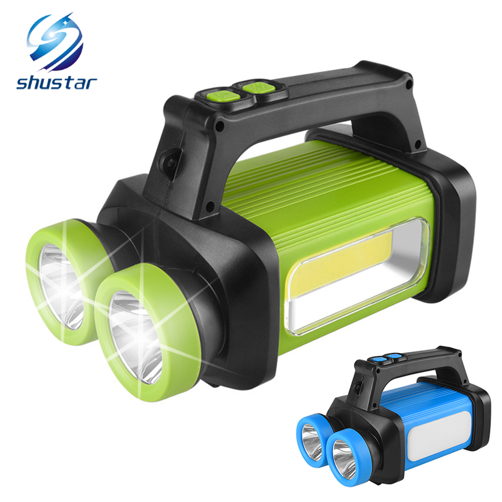 Glare Led Flashlight Portable Light Cob Work Light Soft Light White+Yellow Light Use 3 X Aa Battery For Camping, Adventure, Etc