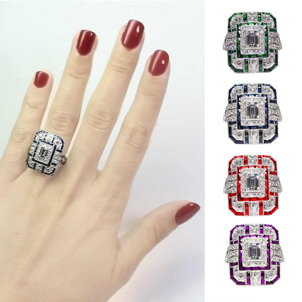 Luxury Silver Big Square Rings for Women Jewelry Wedding Crystal Zircon Engagement Anillos Statement Ring Gifts for women