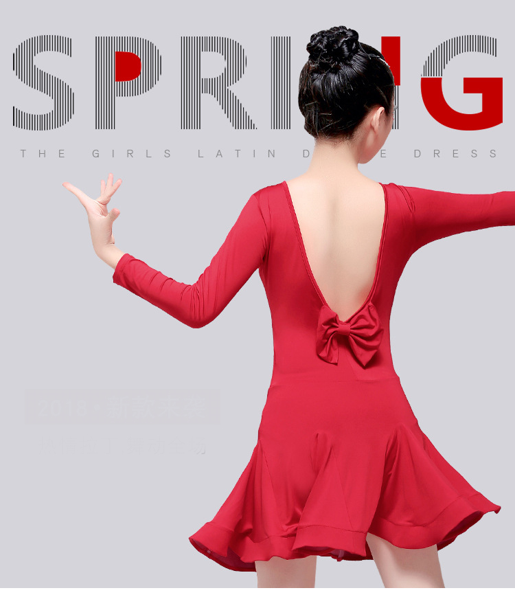 New Girls Long Sleeves Standard Latin Dance Dress Children Ballroom Dance Dresses Kids Salsa Rumba Cha Cha Samba Tango Dress