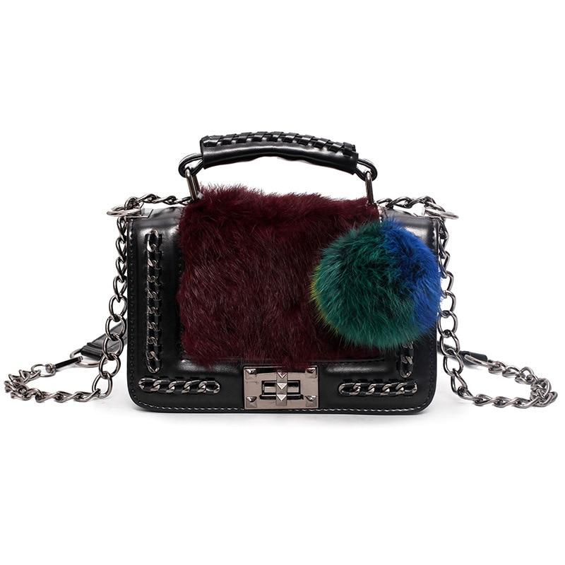 2017 New Luxury Brand Designer Mini Plush bag Lady Fur ball Messenger bag Vintage Chain Strap Shoulder Bag Women Leather Handbag