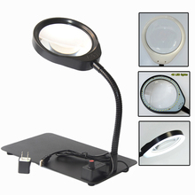 цена на 10X New style Lighted Magnifier Table Top Desk LED Lamp Reading 8X Large Lens Magnifying Glass Adjustable light