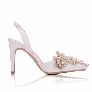 Image 3 - Crystal Queen Women Pumps 10CM High Heels Lace Pearl Elegant Heeled Sexy Pointed Slingbacks Wedding Party Dress Courtesy Shoes