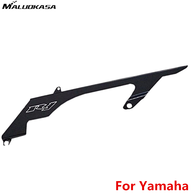 MALUOKASA Black Chain Cover Guard For Yamaha YZF R1 2004 2005 2006 2007 2008 Motorcycle Cover CNC Aluminum Accessories Moto Sale car rear trunk security shield cargo cover for honda fit jazz 2004 2005 2006 2007 high qualit black beige auto accessories