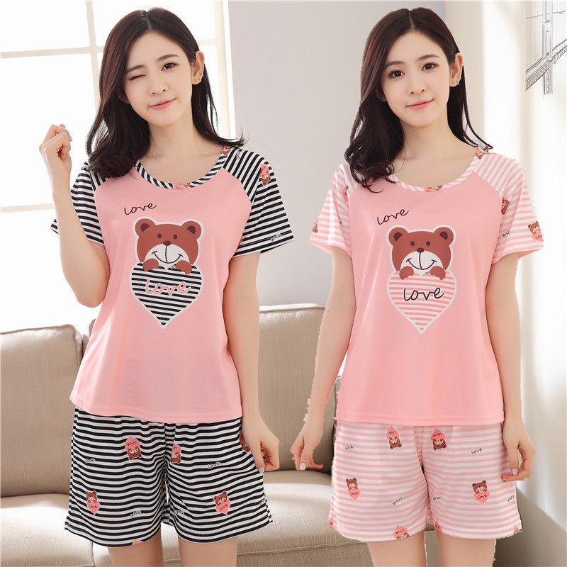 Pajamas     Set   Women Sexy Student Cartoon Summer Thin Cotton Pyjama Shorts Shirt 2Set Home Mom Sleepwear Fashion Clothes
