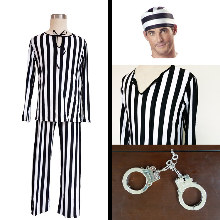 Halloween Vertical Stripes Thin Male Prisoners Clothing Cosplay Dress Sexy Rave Party Costumes With A Hat MJ001