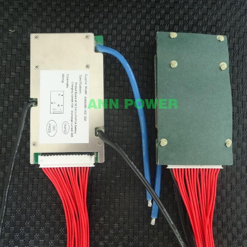 48 V 30A LifePO4 batterie BMS pour 16 S 3.2 V lifepo4 cellule 51.2 V BMS/PCM courant de travail continu 30A 1500 W avec fonction d'équilibre