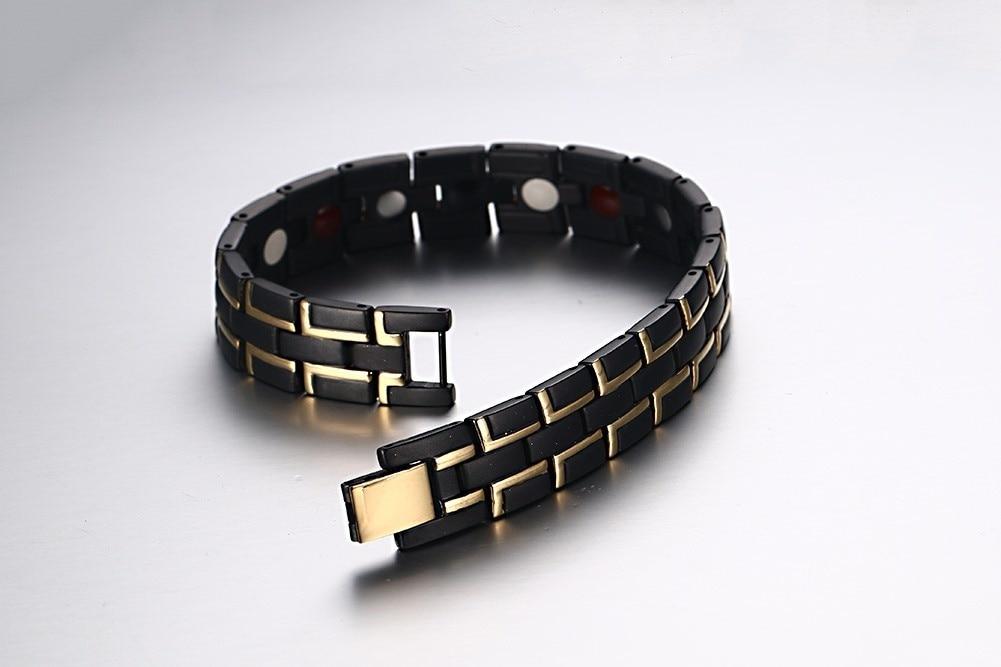 2019 hommes en acier inoxydable noir Bracelet magnétique hommes en acier inoxydable hommes Bracelet énergie Germanium Bracelet hologramme - 3