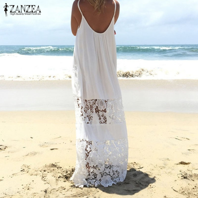 ZANZEA Women 2018 Summer Lace Casual Loose Long Maxi Solid Dress Sexy Strapless Beach Dresses Plus Size Sleeveless Vestidos 1