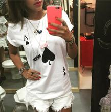 Spade A Letters Print Women T shirt Funny Cotton Casual Shirt For Lady White Top Tee Hipster Yong ZT2-289