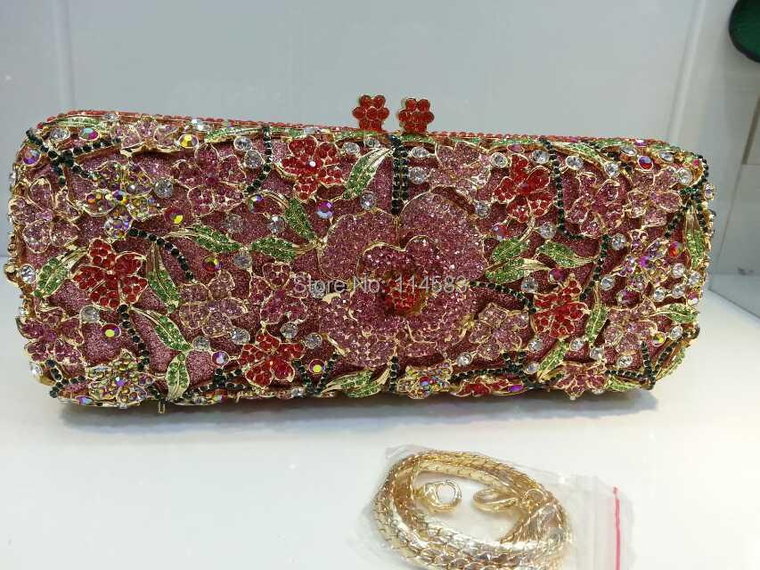 ФОТО 8255-A multi-color Crystal lady fashion Flower Floral Bridal Party hollow Metal Evening purse clutch bag handbag
