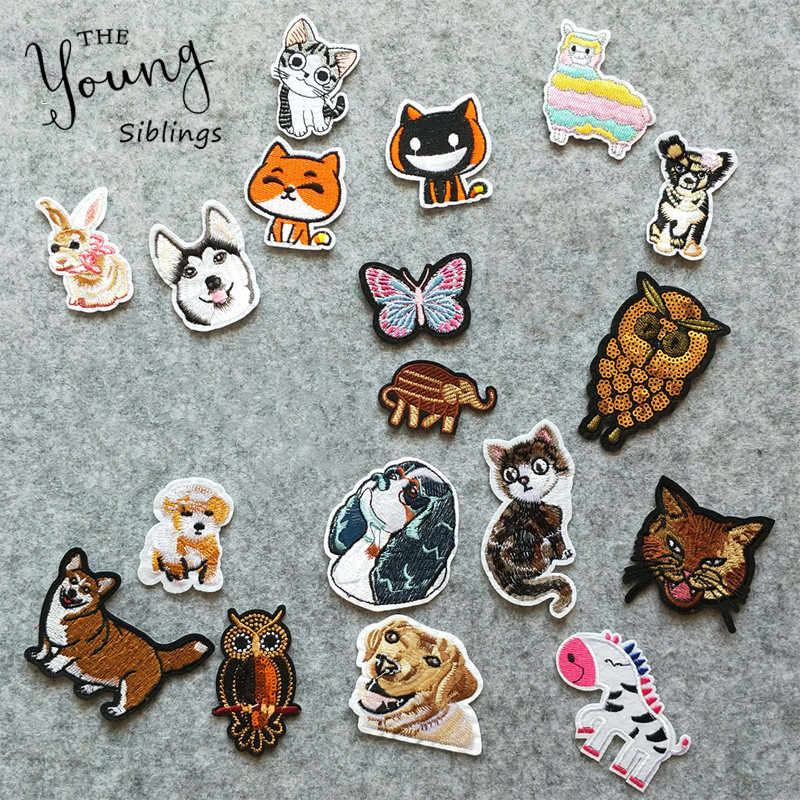 New arrive animal cat dog Hot melt patches for Children's clothes Cartoon Stickers embroidery badge patch DIY Apparel accessory