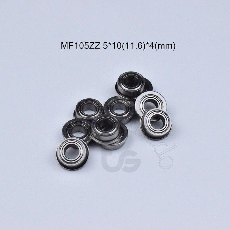 MF105ZZ 5*10(11.6)*4(mm) 10pieces Flange Bearing Metal Sealed Free Shipping ABEC-5 Chrome Steel Miniature Bearings Hardware