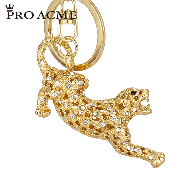 Pro Acme Novelty Leopard Rhinestone Keychain Alloy Key Holder Women Bag Chams Pendant Key Chains Car Keyring llaveros PWK0702