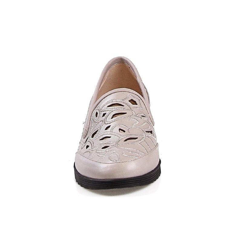 Nouveau Semelle Femmes Bout Mode D'été Appartements 2018 Casual Wetkiss Automne Chaussures Brodé Rond Cuir Plate Apricot En WYSqwBpW