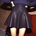 2015 осенние старинные женщин мода сексуальная тип плиссированные юбки высокой талией империи черный искусственная кожа юбки винтаж короткие юбки