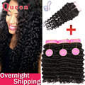 Brazilian Deep Wave With Closure 3pcs Hair Bundles Brazilian Deep Curly Virgin Hair With Closure Hair With Lace Closures Queen