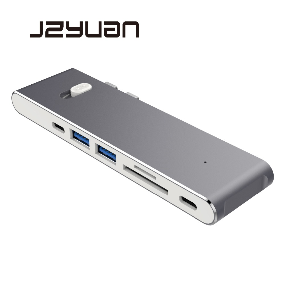 JZYuan USB C Laptop Docking Stations For Macbook Pro Thunderbolt 3 Dock Dual USB C to HDMI USB 3.0 Type C Power Delivery Dock цена