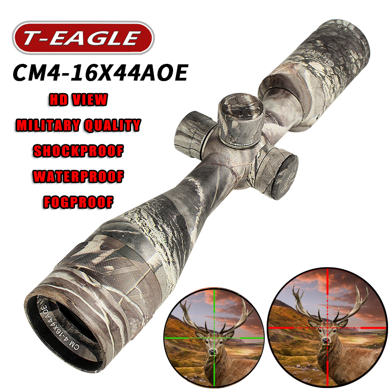 Hot nouveau t-eagle CM4-16x44AOE tactique RiflesScope fusil à air comprimé sniper optique fusil portée de vue camouflage HD R/G chasse Scopes