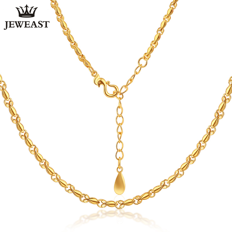 24K Pure Gold Necklace Real AU 999 Solid Gold Chain Smooth Simple Upscale Trendy Classic Party Fine Jewelry Hot Sell New 2018 24k gold ring pure real pattern exquisite fine jewelry mini resizable design fashion female new hot sale 999 trendy party women