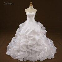 Croset Blusa de bola vestidos de novia vestido largo 2017 vestidos de boda con el tren Blanco/de Marfil más tamaño vestido de noiva curto
