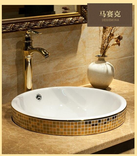 European Gold Plated Taichung Basin Half Embedded Platform. Ceramic Round  Sink Art Basin