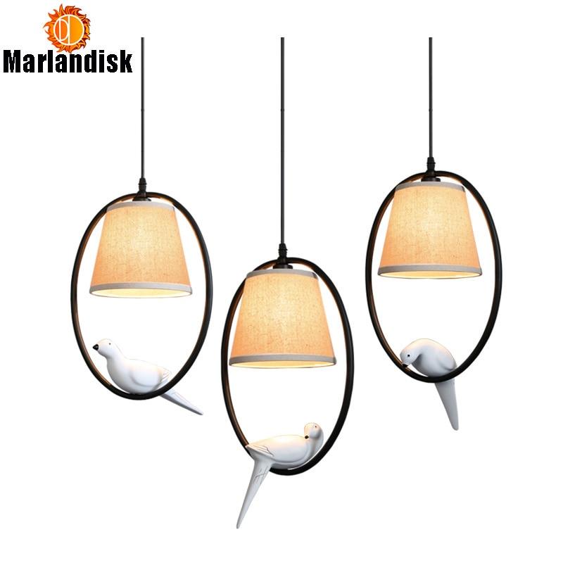 American Countryside Bird Pendant Lights E27 Vintage Pendant Light For Indoor Decoration Black Metal Bird Style