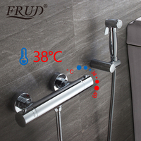 Фfruбиде термостат крана настенный душ очиститель Chrome кран для туалета Биде опрыскиватель моющая, для душа нажмите Вставка для пениса