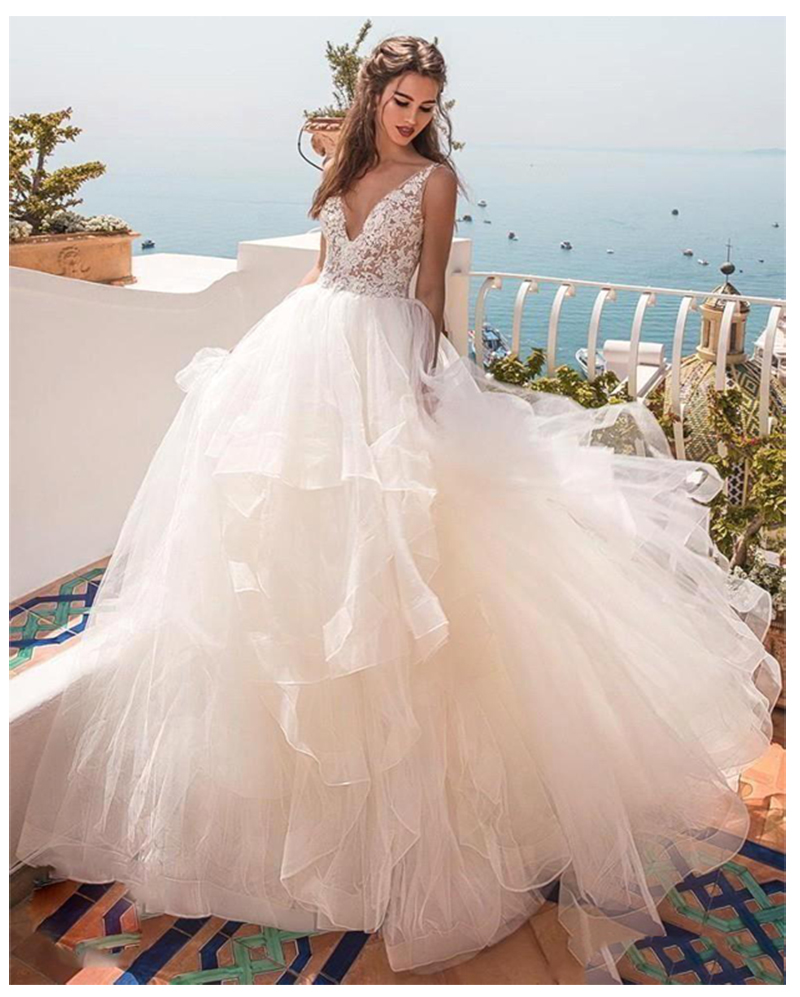 LORIE Princess Wedding Dress V Neck Appliqued With Flowers A-Line Tulle Backless Boho Wedding Gown Free Shipping Bride Dress