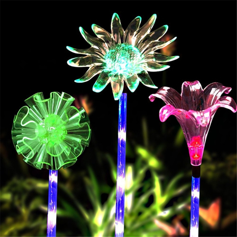 Solar Powered Dandelion/Lily/Sunflower Multi-color Changing LED Flower Stake Light Transparent Lampshade Light Lawn Lamp