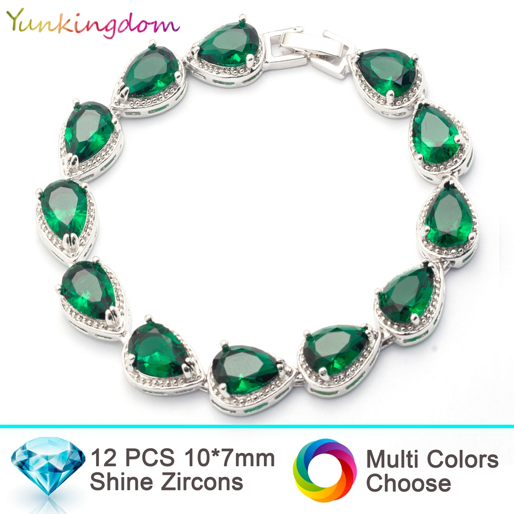 Yunkingdom NEW top quality Bracelets&Bangles for women inlay water drop   zircon wedding Jewelry white gold color Bracelets