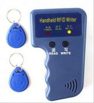Handheld 125KHz EM4100 TK4100 RFID Copier Writer Duplicator Programmer Reader + 2pcs EM4305 T5577 Rewritable ID Keyfobs Tags