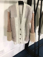 2018 осень и зима новое поступление Для женщин свитера v образным вырезом шить рукава однобортный свободные кардиган свитер Бесплатная доста