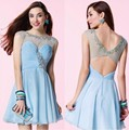 Luxury Robe De Cocktail Dresses 2016 Pleats Chiffon Illusion Back Vestidos De Coctel Party Gowns For Wedding Party