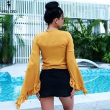 Missord 2018 Summer Women Sexy  deep  V   Long Sleeve  Casual  ruffles  Bow Top FT18353