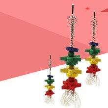 Новая деревянная подвесная яркая клетка для птиц в форме звезды и игрушка из хлопковых ниток для попугая длинная длительная игрушка для птиц кусающийся подвесной инструмент DA