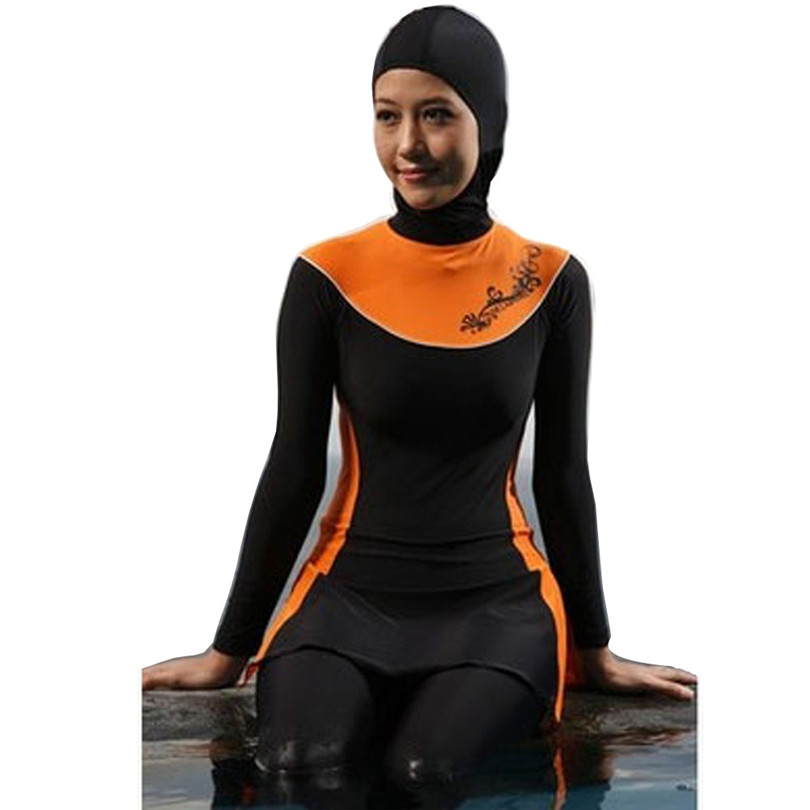 ff1920f9d4c Full Coverage Muslim Islamic Conservative Swimsuit Arabian Hijab Beachwear  Leopard Print Bathing Suit 4XL Plus Size-in Muslim Swimwear from Sports ...