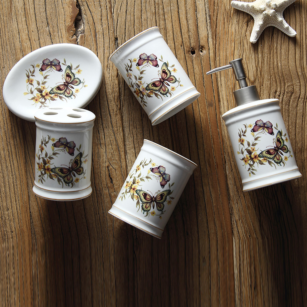 Nordic gargle cup set sanitary ware bathroom suite ceramic wash and butterfly flower five piece set. LO88221 nordic simple mouth cup set sanitary ware wash bathroom set bathroom kit ceramic wash crown five piece lo88250
