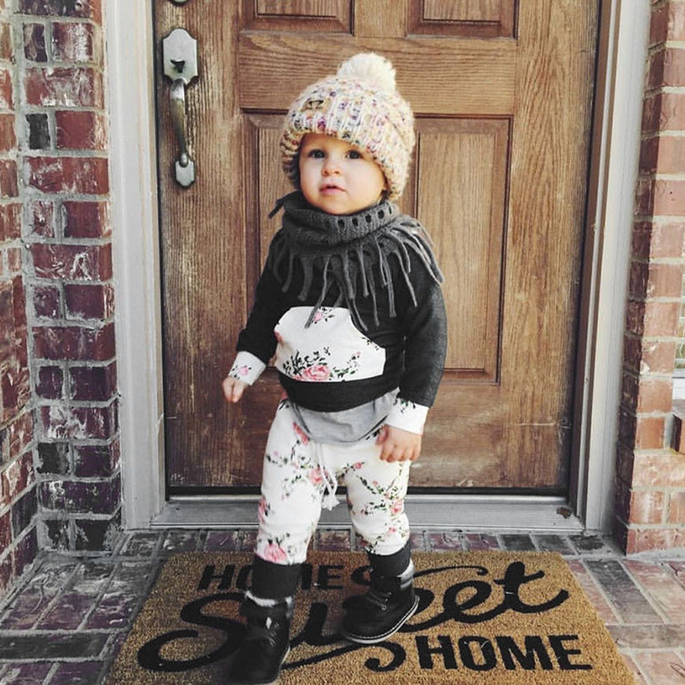2pcs Baby Grils Suits Clothes Toddler Infant Baby Boy Girl Clothes Set Floral Hoodie Tops+Pants Outfits winter warm newborn suit