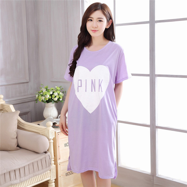 Fashion Women Thin Cotton Nightgowns Home Dress Cartoon Summer Girl  Sleepwear Nightdress Loose Comfortable Sleepshirts for women f34bdc6b4