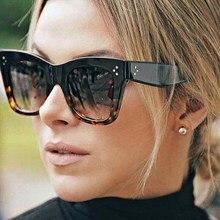 2ee4c4a37 الكلاسيكية النساء أزياء الإطار النظارات الشمسية العلامة التجارية مصمم البني  عدسة برشام ظلال الشمس نظارات الإناث خمر الراتنج نظار.