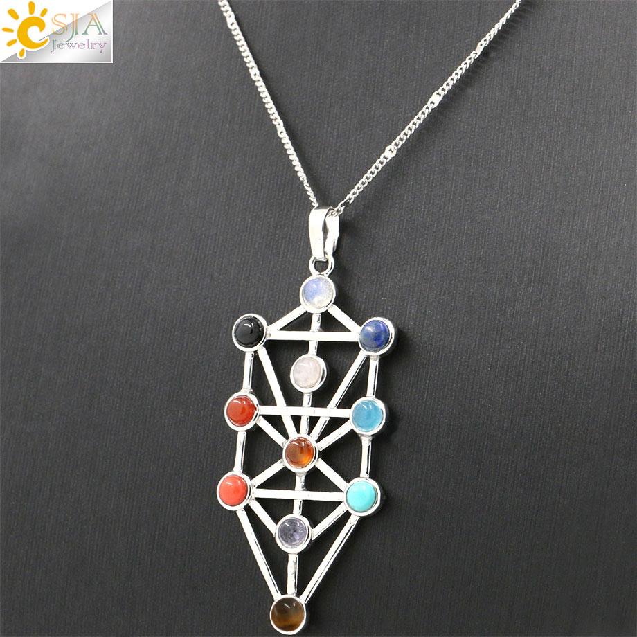 CSJA 2016 Simbol Amulet 7 Chakra Pyramid Healing Point Dowsing 11 - Bizhuteri të modës - Foto 3