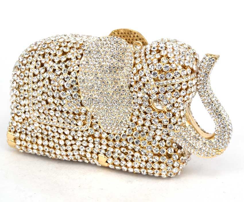 Nuevo Diseñador Animal Elefante Bolsos de Embrague Bolsos de Noche de Cristal de