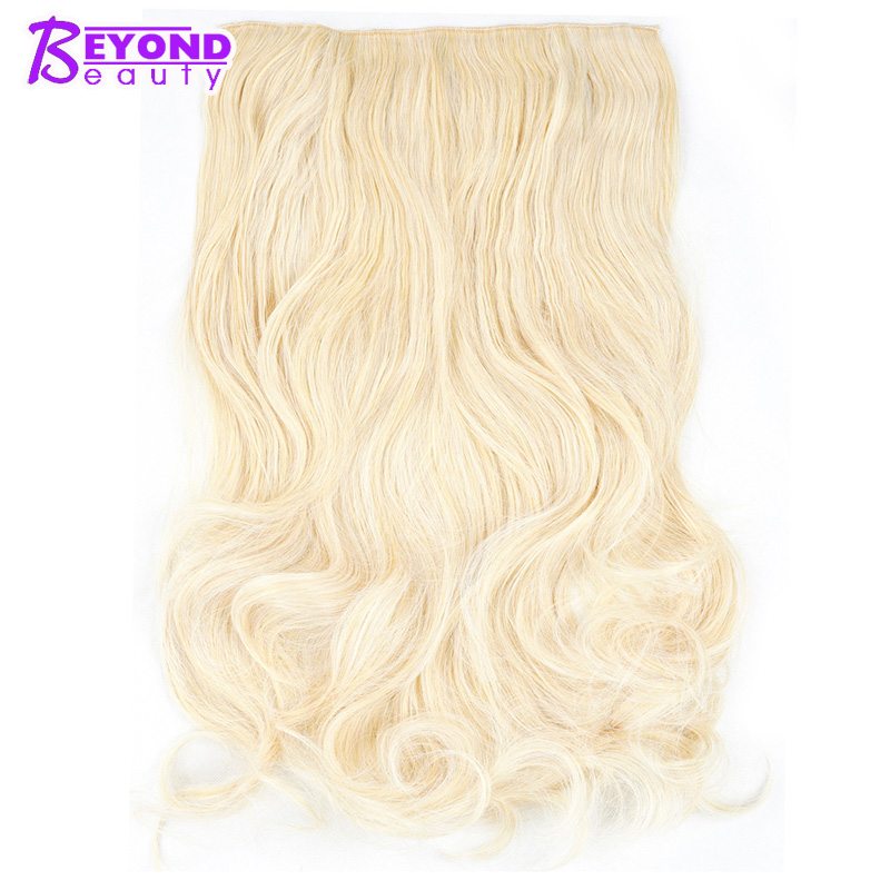 Fast Deliver Beyond Beauty 24inch 60cm Long Wavy Black Brown Blond Colored Synthetic Clip-in Hair Extensions Natural Fiber Fake Hair High Quality And Low Overhead Synthetic Extensions