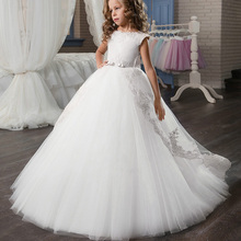 Flower Girl Wedding Party Little Bridesmaid Banquet Tail Embroidery Dress Girl's Birthday Party Dinner Party First Dinner Dress