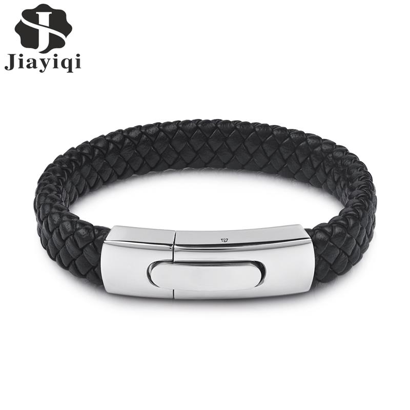 Jiayiqi Fashion Men Jewelry Black Genuine Leather Bracelet Silver Color Stainless Steel Magnetic Buckle Punk Bangles Male GiftsJiayiqi Fashion Men Jewelry Black Genuine Leather Bracelet Silver Color Stainless Steel Magnetic Buckle Punk Bangles Male Gifts