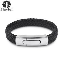 Jiayiqi Fashion Men Jewelry Black Genuine Leather Bracelet Silver Color Stainless Steel Magnetic Buckle Punk Bangles Male Gifts