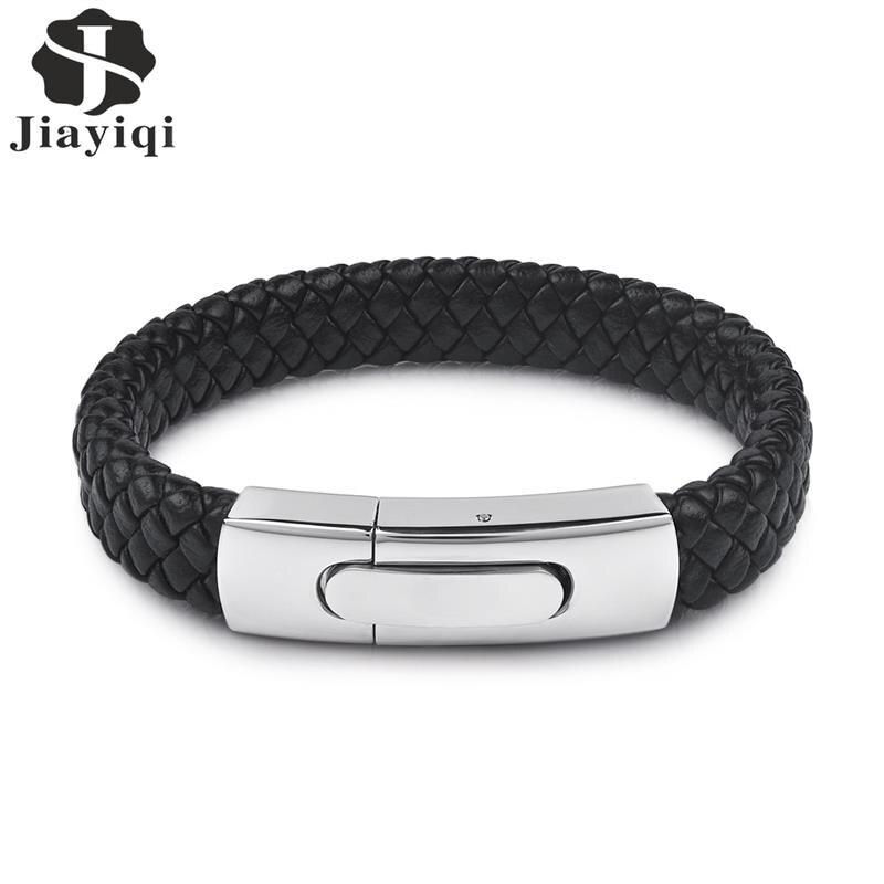 Jiayiqi Mode Hommes Bijoux Noir Véritable Bracelet En Cuir Argent Couleur Acier Inoxydable Magnétique Boucle Punk Bracelets Mâle Cadeaux