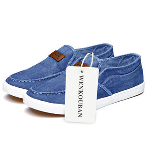 Image 5 - Summer Canvas Shoes Men Sneakers Casual Flats Slip On Loafers Moccasins Male Shoes Adult Denim Breathable Gray Zapatos Hombre