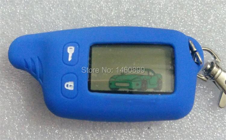 2-way TW 9010 LCD Touche De La Télécommande Fob avec Bleu Silicone cas pour Russe à Deux voies système d'alarme de voiture Tomahawk TW-9010 TW9010