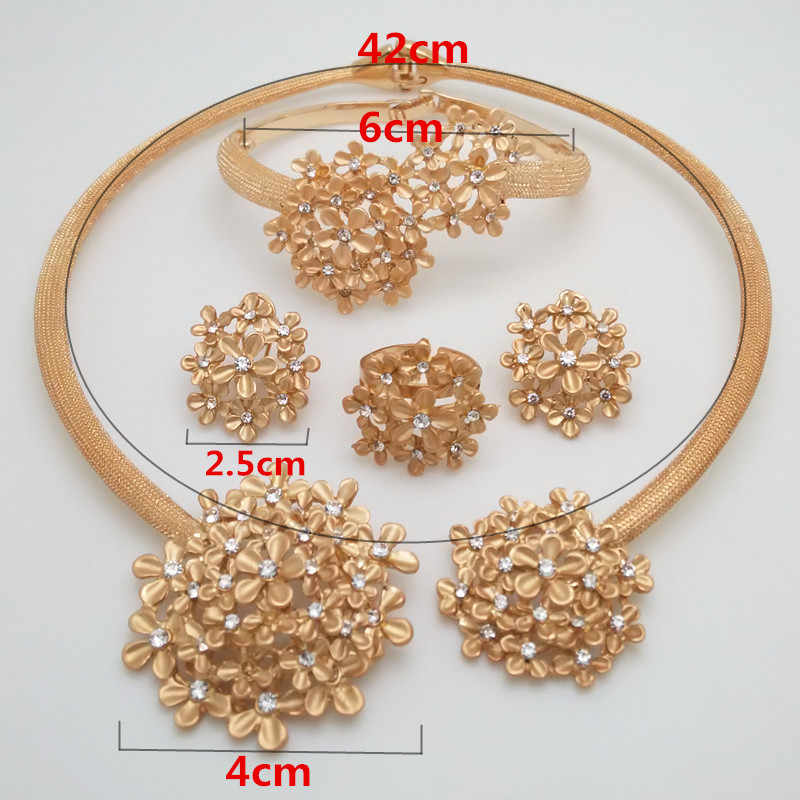 Reino ma nigeriano casamento nupcial africano ouro cor conjunto de jóias dubai colar pulseira brincos anel conjuntos